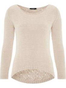 Shiny Knitted Jumper Cream - neckline: round neck; style: standard; predominant colour: ivory; occasions: casual, work; length: standard; fibres: acrylic - mix; fit: standard fit; back detail: longer hem at back than at front; sleeve length: long sleeve; sleeve style: standard; texture group: knits/crochet; pattern type: knitted - other; pattern size: standard; pattern: patterned/print