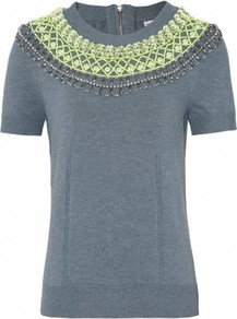 Grey Liya Embellished Sweater Uk - neckline: round neck; pattern: plain; bust detail: added detail/embellishment at bust; style: standard; predominant colour: mid grey; occasions: casual, evening, work; length: standard; fibres: polyester/polyamide - mix; fit: standard fit; shoulder detail: added shoulder detail; sleeve length: short sleeve; sleeve style: standard; texture group: knits/crochet; pattern type: knitted - fine stitch; pattern size: small & light; embellishment: beading