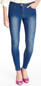 Midwash Ankle Grazer Jean - style: skinny leg; pattern: plain; pocket detail: traditional 5 pocket; waist: mid/regular rise; predominant colour: denim; occasions: casual, evening; length: ankle length; fibres: cotton - stretch; jeans detail: shading down centre of thigh; texture group: denim; pattern type: fabric