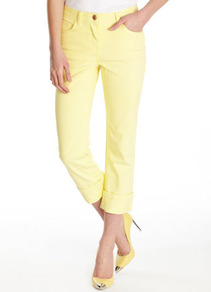 Yellow Denim Crops - pattern: plain; pocket detail: traditional 5 pocket; waist: mid/regular rise; predominant colour: primrose yellow; occasions: casual, holiday; length: calf length; fibres: cotton - stretch; jeans & bottoms detail: turn ups; texture group: denim; fit: slim leg; pattern type: fabric; pattern size: standard; style: standard