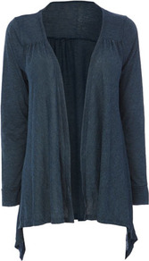 Blue Textured Jersey Waterfall Cardigan - pattern: plain; neckline: waterfall neck; length: below the bottom; bust detail: ruching/gathering/draping/layers/pintuck pleats at bust; style: open front; predominant colour: navy; occasions: casual, work; fibres: polyester/polyamide - mix; fit: loose; hip detail: dip hem; sleeve length: long sleeve; sleeve style: standard; pattern type: fabric; pattern size: standard; texture group: jersey - stretchy/drapey