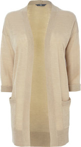 Stone Linen Blend Edge To Egde Cardigan - hip detail: front pockets at hip; neckline: collarless open; style: open front; predominant colour: stone; occasions: casual, work; fibres: acrylic - mix; fit: loose; length: mid thigh; sleeve length: half sleeve; sleeve style: standard; texture group: knits/crochet; pattern type: knitted - fine stitch; pattern size: standard