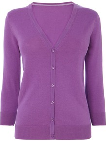 Purple Cotton Rich V Neck Cardigan - neckline: low v-neck; predominant colour: purple; occasions: casual, work; length: standard; style: standard; fibres: cotton - mix; fit: standard fit; sleeve length: 3/4 length; sleeve style: standard; texture group: knits/crochet; pattern type: knitted - fine stitch; pattern size: standard