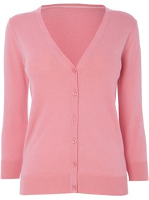 Rose Pink Cotton Rich V Neck Cardigan - neckline: low v-neck; predominant colour: pink; occasions: casual, work; length: standard; style: standard; fibres: cotton - mix; fit: standard fit; sleeve length: 3/4 length; sleeve style: standard; texture group: knits/crochet; pattern type: knitted - fine stitch; pattern size: standard
