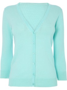 Light Turquoise Cotton Rich V Neck Cardigan - neckline: v-neck; pattern: plain; predominant colour: turquoise; occasions: casual, work; length: standard; style: standard; fibres: cotton - mix; fit: slim fit; waist detail: fitted waist; sleeve length: 3/4 length; sleeve style: standard; texture group: knits/crochet; pattern type: knitted - fine stitch; pattern size: standard