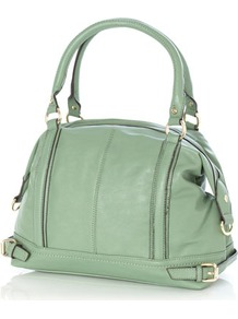 Green Lotus Tatum Shopper Bag - predominant colour: pistachio; occasions: casual, work; type of pattern: standard; style: tote; length: handle; size: standard; material: faux leather; embellishment: studs; pattern: plain; finish: plain