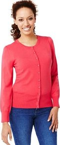 Bobble Button Plain Cardigan - neckline: round neck; pattern: plain; bust detail: buttons at bust (in middle at breastbone)/zip detail at bust; predominant colour: true red; occasions: casual, work; length: standard; style: standard; fit: standard fit; sleeve length: long sleeve; sleeve style: standard; texture group: knits/crochet; pattern type: knitted - fine stitch; pattern size: standard; fibres: viscose/rayon - mix