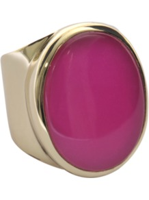 Oval Ring In Gold With Pink Jade - predominant colour: hot pink; occasions: evening, work, occasion; style: cocktail; size: large/oversized; material: chain/metal; finish: metallic; embellishment: chain/metal