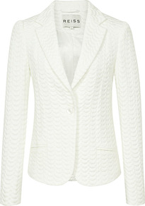 Sota Fitted Peplum Jacket - pattern: plain; style: single breasted blazer; collar: standard lapel/rever collar; predominant colour: ivory; occasions: casual, evening, work, occasion; length: standard; fit: tailored/fitted; fibres: wool - mix; waist detail: fitted waist; sleeve length: long sleeve; sleeve style: standard; collar break: medium; pattern type: fabric; pattern size: standard; texture group: woven light midweight