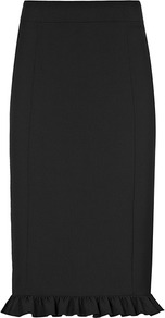 Winnie Fitted Frill Skirt - pattern: plain; style: pencil; fit: tailored/fitted; waist: high rise; hip detail: fitted at hip; predominant colour: black; occasions: casual, evening, work; length: on the knee; fibres: polyester/polyamide - stretch; trends: sculptural frills; pattern type: fabric; pattern size: standard; texture group: woven light midweight