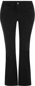 Black Bootcut Jeans - style: bootcut; length: standard; pattern: plain; pocket detail: traditional 5 pocket; waist: mid/regular rise; predominant colour: black; occasions: casual, evening; fibres: cotton - mix; jeans detail: dark wash; texture group: denim; pattern type: fabric; pattern size: standard
