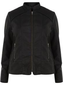 Black Pu Stitch Detail Biker Jacket - pattern: plain; style: biker; collar: high neck; fit: slim fit; predominant colour: black; occasions: casual, evening, work; length: standard; fibres: polyester/polyamide - 100%; sleeve length: long sleeve; sleeve style: standard; texture group: leather; collar break: high; pattern type: fabric; pattern size: standard