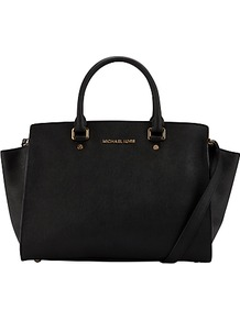 Selma Travel Satchel Handbag - predominant colour: black; occasions: casual, evening, work; type of pattern: standard; style: tote; length: handle; size: standard; material: leather; pattern: plain; finish: plain