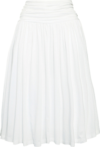 Ruched Jersey Skirt - length: below the knee; pattern: plain; style: full/prom skirt; fit: body skimming; waist: high rise; waist detail: twist front waist detail/nipped in at waist on one side/soft pleats/draping/ruching/gathering waist detail; predominant colour: white; occasions: evening, work, occasion, holiday; fibres: cotton - 100%; hip detail: soft pleats at hip/draping at hip/flared at hip; trends: volume; pattern type: fabric; pattern size: standard; texture group: jersey - stretchy/drapey