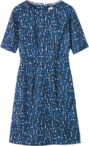 Ayo Printed Dress, Blue Print - style: shift; neckline: slash/boat neckline; fit: tailored/fitted; waist detail: fitted waist; predominant colour: royal blue; occasions: casual, evening, work; length: just above the knee; fibres: cotton - 100%; sleeve length: half sleeve; sleeve style: standard; texture group: cotton feel fabrics; trends: statement prints, modern geometrics; pattern type: fabric; pattern size: small & busy; pattern: patterned/print