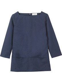 Elsa Tunic Top, Navy - neckline: high square neck; pattern: plain; style: tunic; predominant colour: navy; occasions: casual, evening, work; length: standard; fibres: cotton - 100%; fit: straight cut; sleeve length: 3/4 length; sleeve style: standard; texture group: cotton feel fabrics; pattern type: fabric; pattern size: standard