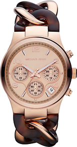 Mk4269 Women's Tortoiseshell Chronograph Runway Watch - predominant colour: gold; occasions: casual, evening, work, occasion, holiday; style: metal bracelet; size: large/oversized; material: chain/metal; trends: sporty redux; finish: plain; pattern: tortoiseshell; embellishment: chain/metal