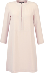 Satin Crepe Dress - style: tunic; neckline: round neck; pattern: plain; predominant colour: blush; occasions: casual, evening, occasion; length: just above the knee; fit: straight cut; fibres: polyester/polyamide - stretch; sleeve length: 3/4 length; sleeve style: standard; texture group: crepes; pattern type: fabric; pattern size: standard