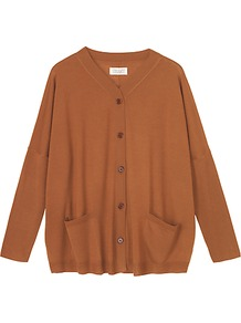 Fine Drapey Cardigan, Coconut Shell - neckline: v-neck; length: below the bottom; hip detail: front pockets at hip; predominant colour: tan; occasions: casual, work; style: standard; fibres: wool - mix; fit: loose; sleeve length: long sleeve; sleeve style: standard; texture group: knits/crochet; pattern type: knitted - other; pattern size: standard