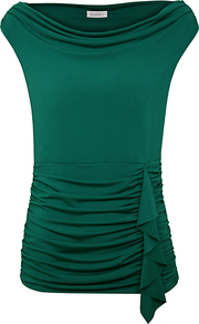 Cowl Neck Waterfall Top - neckline: cowl/draped neck; sleeve style: capped; pattern: plain; waist detail: fitted waist; predominant colour: dark green; occasions: casual, evening, work; length: standard; style: top; fibres: polyester/polyamide - stretch; fit: body skimming; hip detail: ruching/gathering at hip; shoulder detail: flat/draping pleats/ruching/gathering at shoulder; sleeve length: sleeveless; texture group: jersey - clingy; pattern type: fabric; pattern size: standard