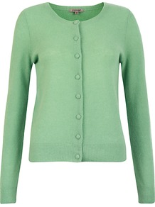 Cashmere Cardigan - neckline: round neck; pattern: plain; bust detail: buttons at bust (in middle at breastbone)/zip detail at bust; predominant colour: pistachio; occasions: casual, work; length: standard; style: standard; fit: standard fit; fibres: cashmere - 100%; sleeve length: long sleeve; sleeve style: standard; texture group: knits/crochet; pattern type: knitted - fine stitch