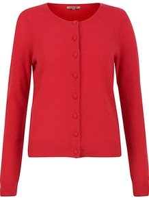 Cashmere Cardigan - neckline: round neck; pattern: plain; bust detail: buttons at bust (in middle at breastbone)/zip detail at bust; predominant colour: true red; occasions: casual, work; length: standard; style: standard; fit: standard fit; fibres: cashmere - 100%; sleeve length: long sleeve; sleeve style: standard; texture group: knits/crochet; pattern type: knitted - fine stitch; pattern size: standard