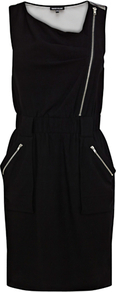 Biker Zip Dress - style: shift; neckline: high square neck; fit: fitted at waist; pattern: plain; sleeve style: sleeveless; waist detail: elasticated waist; hip detail: side pockets at hip; back detail: contrast pattern/fabric at back; bust detail: ruching/gathering/draping/layers/pintuck pleats at bust; predominant colour: black; occasions: casual, evening, work, occasion; length: just above the knee; fibres: polyester/polyamide - stretch; shoulder detail: added shoulder detail; sleeve length: sleeveless; trends: sporty redux; pattern type: fabric; pattern size: standard; texture group: jersey - stretchy/drapey