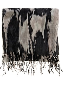 Smudgey Feather Print Scarf - predominant colour: black; occasions: casual, evening, work; type of pattern: standard; style: regular; size: large; material: fabric; pattern: patterned/print