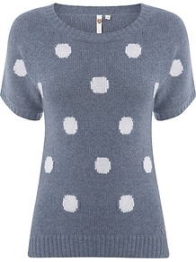 Rococo Spotted Jumper - neckline: round neck; pattern: polka dot; style: standard; predominant colour: mid grey; occasions: casual, work; length: standard; fibres: wool - mix; fit: slim fit; waist detail: fitted waist; sleeve length: short sleeve; sleeve style: standard; texture group: knits/crochet; pattern type: knitted - fine stitch; pattern size: big & light