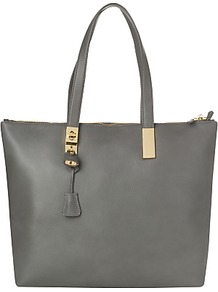 Posey Tote Bag - predominant colour: mid grey; occasions: casual, evening, work; type of pattern: standard; style: tote; length: shoulder (tucks under arm); size: standard; material: leather; pattern: plain; finish: plain