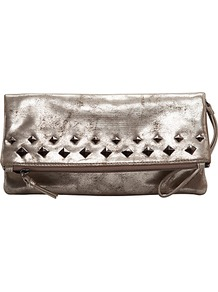 Studded Metallic Clutch Handbag - predominant colour: silver; occasions: evening, occasion; type of pattern: small; style: clutch; length: hand carry; size: small; material: faux leather; embellishment: studs; pattern: plain; trends: metallics; finish: metallic