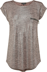 Metallic Knitted T Shirt - neckline: round neck; sleeve style: dolman/batwing; pattern: plain; style: t-shirt; bust detail: pocket detail at bust; predominant colour: taupe; occasions: casual, evening, work; length: standard; fibres: polyester/polyamide - stretch; fit: loose; sleeve length: short sleeve; trends: metallics; pattern type: fabric; pattern size: standard; texture group: jersey - stretchy/drapey