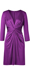 Amethyst Deep V Neck Silk Jersey Dress - style: shift; neckline: plunge; fit: tailored/fitted; pattern: plain; waist detail: twist front waist detail/nipped in at waist on one side/soft pleats/draping/ruching/gathering waist detail; bust detail: ruching/gathering/draping/layers/pintuck pleats at bust; predominant colour: purple; occasions: evening, occasion; length: on the knee; fibres: silk - 100%; hip detail: soft pleats at hip/draping at hip/flared at hip; sleeve length: 3/4 length; sleeve style: standard; texture group: silky - light; trends: glamorous day shifts; pattern type: fabric; pattern size: standard