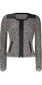 Black/Multi Lory Jacket - pattern: plain; style: single breasted blazer; collar: round collar/collarless; predominant colour: charcoal; secondary colour: black; occasions: casual, evening, work; length: standard; fit: tailored/fitted; fibres: cotton - mix; waist detail: fitted waist; sleeve length: long sleeve; sleeve style: standard; collar break: high; pattern type: fabric; texture group: tweed - light/midweight