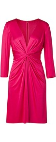 Fuchsia Deep V Neck Silk Jersey Dress - style: shift; neckline: plunge; pattern: plain; waist detail: twist front waist detail/nipped in at waist on one side/soft pleats/draping/ruching/gathering waist detail; bust detail: ruching/gathering/draping/layers/pintuck pleats at bust; predominant colour: hot pink; occasions: evening, occasion; length: just above the knee; fit: body skimming; fibres: silk - 100%; hip detail: soft pleats at hip/draping at hip/flared at hip; sleeve length: 3/4 length; sleeve style: standard; texture group: silky - light; trends: glamorous day shifts; pattern type: fabric; pattern size: standard