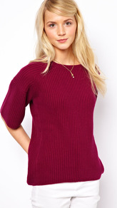 Flared Sleeved Jumper - neckline: slash/boat neckline; pattern: plain; style: standard; back detail: contrast pattern/fabric at back; predominant colour: burgundy; occasions: casual, work; length: standard; fibres: cotton - mix; fit: standard fit; sleeve length: half sleeve; sleeve style: standard; texture group: knits/crochet; pattern type: knitted - other; pattern size: standard