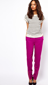Peg Trousers With Zip Front Detail - length: standard; pattern: plain; pocket detail: small back pockets; style: peg leg; waist: mid/regular rise; predominant colour: magenta; occasions: casual, evening, work; fibres: polyester/polyamide - 100%; texture group: crepes; fit: tapered; pattern type: fabric; pattern size: big &amp; light