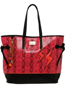 Maya Lightning Snake Print Shopper - predominant colour: pink; occasions: casual; type of pattern: standard; style: tote; length: handle; size: standard; material: faux leather; trends: statement prints; finish: patent; pattern: patterned/print