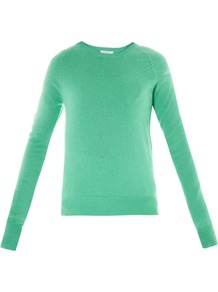Sloane Crew Neck Sweater - pattern: plain; style: standard; predominant colour: pistachio; occasions: casual, work; length: standard; fit: slim fit; neckline: crew; fibres: cashmere - 100%; sleeve length: long sleeve; sleeve style: standard; texture group: knits/crochet; pattern type: knitted - fine stitch; pattern size: standard