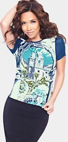 Button Back Printed Blouse, Blue - neckline: round neck; style: blouse; shoulder detail: contrast pattern/fabric at shoulder; predominant colour: royal blue; occasions: casual, work, holiday; length: standard; fibres: polyester/polyamide - stretch; fit: body skimming; sleeve length: short sleeve; sleeve style: standard; pattern type: fabric; pattern size: big & busy; pattern: patterned/print; texture group: jersey - stretchy/drapey