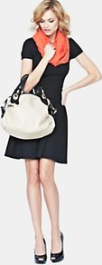 Slouchy Contrast Shoulder Bag, Cream - predominant colour: white; occasions: casual, work; type of pattern: standard; style: shoulder; length: shoulder (tucks under arm); size: standard; material: faux leather; pattern: plain; finish: plain; embellishment: buckles