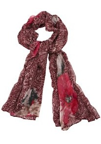Floral Print Scarf - predominant colour: burgundy; occasions: casual, evening, work, occasion; type of pattern: standard; style: regular; size: standard; material: fabric; pattern: florals, patterned/print; trends: high impact florals, statement prints