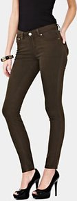 Supersoft Skinny Jeans, Khaki - style: skinny leg; length: standard; pattern: plain; pocket detail: traditional 5 pocket; waist: mid/regular rise; predominant colour: chocolate brown; occasions: casual; fibres: cotton - stretch; jeans detail: dark wash; texture group: denim; pattern type: fabric; pattern size: standard