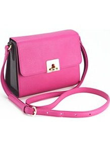 Harriet Crossbody Bag, Pink - predominant colour: hot pink; occasions: casual, evening, work; type of pattern: standard; style: messenger; length: across body/long; size: small; material: faux leather; pattern: plain, colourblock; trends: fluorescent; finish: plain