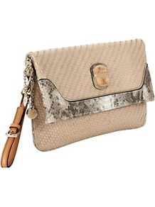 Makala Woven Clutch Bag - predominant colour: stone; occasions: casual, evening, occasion, holiday; type of pattern: light; style: clutch; length: hand carry; size: standard; material: leather; pattern: animal print, plain; finish: plain; embellishment: chain/metal