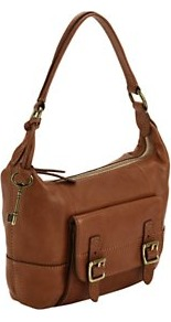 Hobo Leather Bag, Tan - predominant colour: tan; occasions: casual, work; type of pattern: standard; style: shoulder; length: shoulder (tucks under arm); size: standard; material: leather; pattern: plain; finish: plain; embellishment: buckles