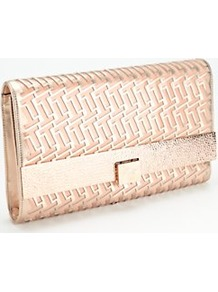 Lazer Clutch Bag, Gold - predominant colour: gold; occasions: evening, occasion; style: clutch; length: hand carry; size: standard; material: fabric; pattern: plain