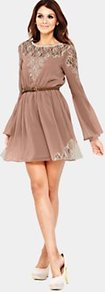 Angel Sleeve Dress With Belt - length: mid thigh; neckline: round neck; sleeve style: angel/waterfall; fit: fitted at waist; pattern: plain; style: blouson; waist detail: fitted waist; shoulder detail: contrast pattern/fabric at shoulder; back detail: contrast pattern/fabric at back; predominant colour: taupe; occasions: evening, occasion, holiday; fibres: polyester/polyamide - 100%; hip detail: soft pleats at hip/draping at hip/flared at hip; bust detail: contrast pattern/fabric/detail at bust; sleeve length: long sleeve; texture group: lace; pattern type: fabric; pattern size: standard