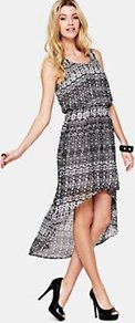 Printed Dress, Black - neckline: round neck; sleeve style: standard vest straps/shoulder straps; fit: fitted at waist; waist detail: elasticated waist; predominant colour: charcoal; occasions: casual, evening, holiday; length: just above the knee; style: asymmetric (hem); fibres: polyester/polyamide - 100%; hip detail: soft pleats at hip/draping at hip/flared at hip; back detail: longer hem at back than at front; sleeve length: sleeveless; texture group: sheer fabrics/chiffon/organza etc.; pattern type: fabric; pattern size: standard; pattern: patterned/print