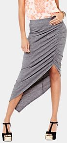 Ruched Jersey Skirt, Grey - pattern: plain; fit: tight; waist detail: elasticated waist, fitted waist, twist front waist detail/nipped in at waist on one side/soft pleats/draping/ruching/gathering waist detail; hip detail: fitted at hip, ruching/gathering at hip; waist: mid/regular rise; predominant colour: mid grey; occasions: casual, evening, work, holiday; length: just above the knee; style: asymmetric (hem); fibres: polyester/polyamide - stretch; texture group: jersey - clingy; pattern type: fabric; pattern size: standard